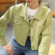 Solid Button Front Trucker Jacket