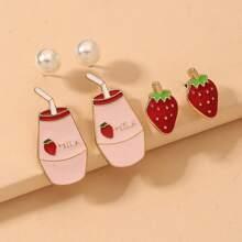 3 Paare Ohrringe mit Erdbeere Design
