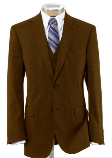 Mens 2 Button Wool Vested Brown Suit with Pleated Trousers