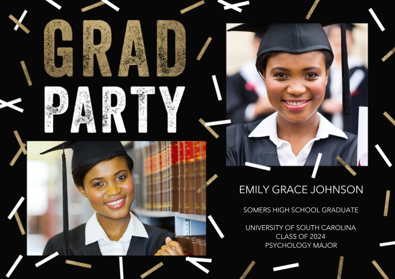 Graduation Invitations 5x7 Cards, Premium Cardstock 120lb with Elegant Corners, Card & Stationery -Grad Party Scattered Confetti by Tumbalina