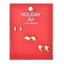3 Paare Ohrstecker mit Weihnachten Tier Design