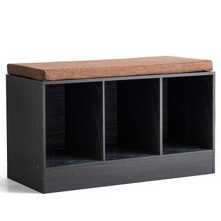 3-Cube Entryway Shoe Bench Storage Bench with Padded Cushion (MDF - Wood - Black)