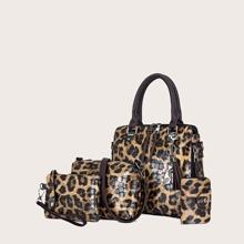 4 Stuecke Taschen Set mit Leopard Muster