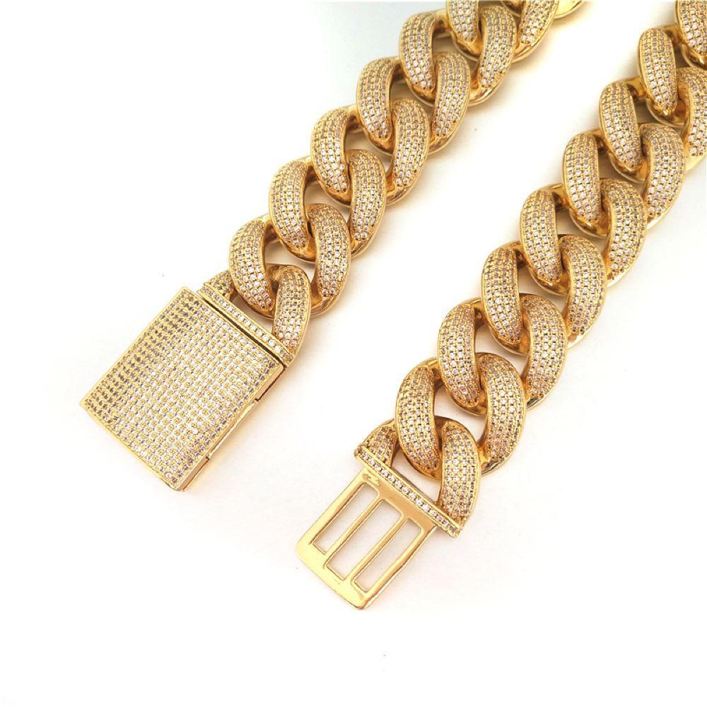 HUGE 24MM 3D Cuban Bling Bling Chain White/Yellow Gold