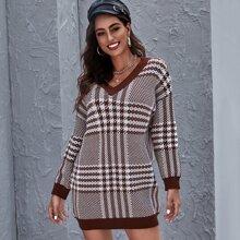 Pullover Kleid mit Hahnentritt Muster und V Kragen