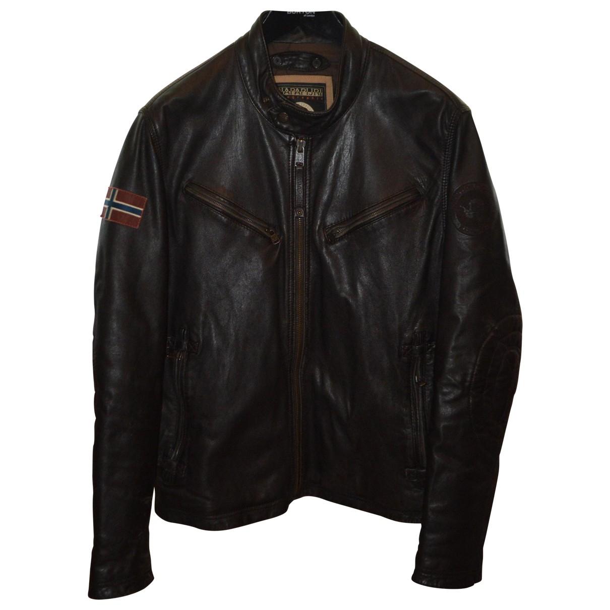 Napapijri \N Brown Leather jacket  for Men XL International