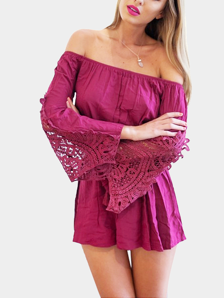 Yoins Off The Shoulder Playsuit With Flare Crochet Insert Sleeve