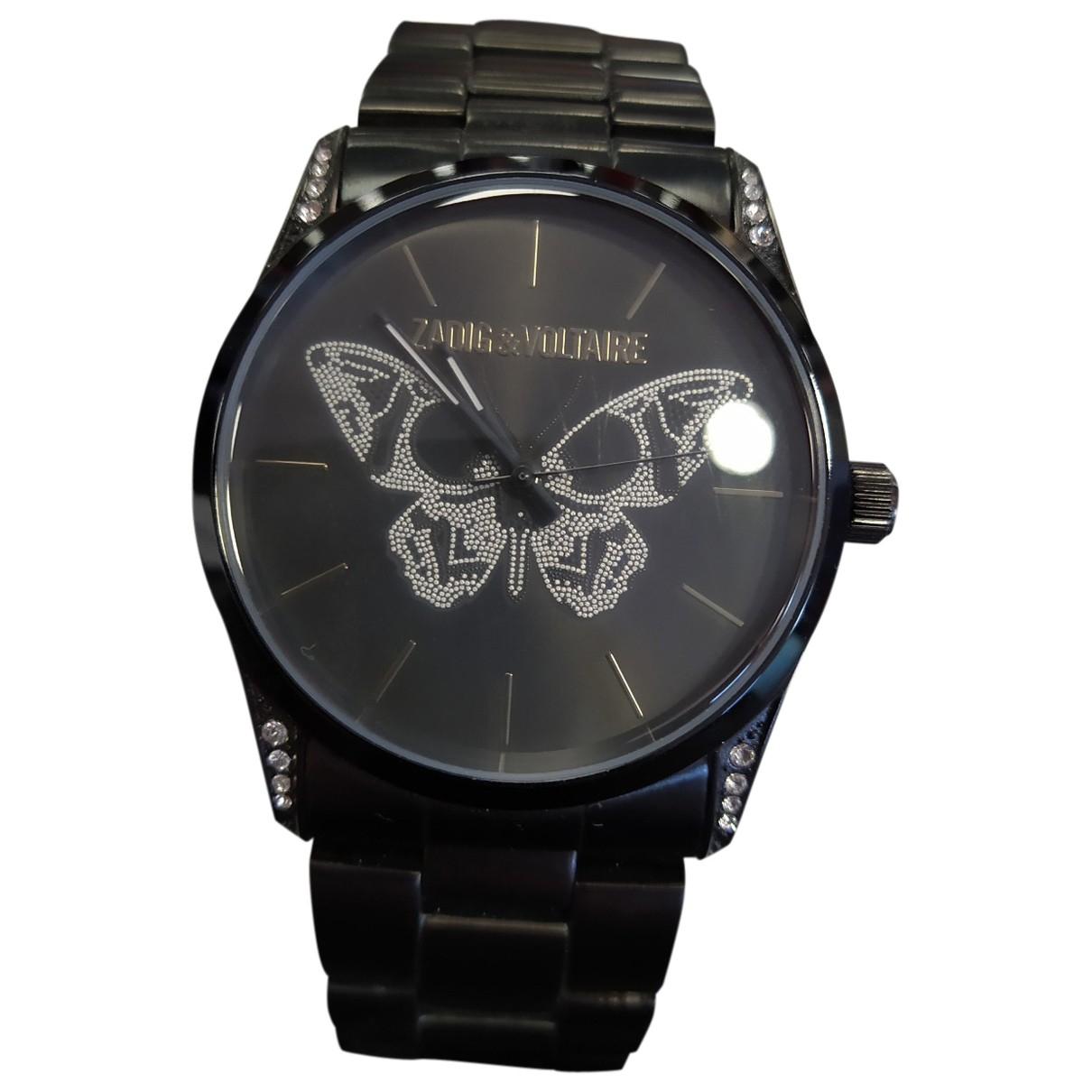 Zadig & Voltaire Papillon Uhr in  Schwarz Stahl