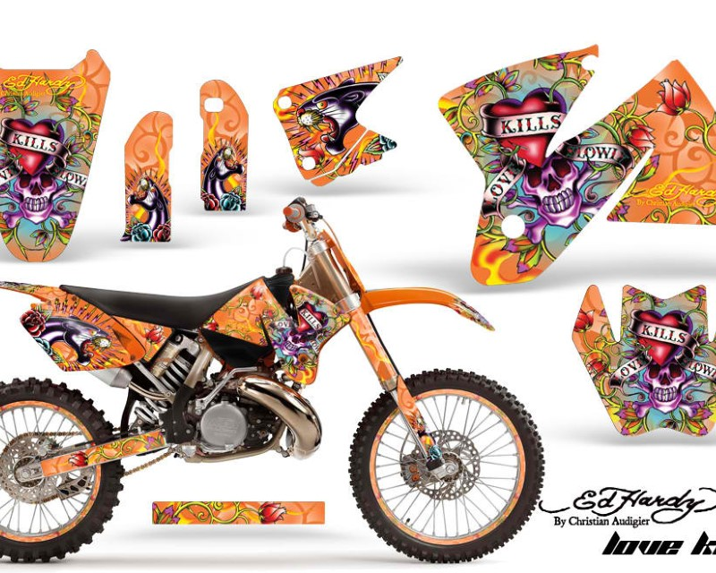 AMR Racing Graphics MX-NP-KTM-C2-98-01-EDHLK O Kit Decal Sticker Wrap + # Plates For KTM SX/XC/EXC/MXC 1998-2001 EDHLK ORANGE