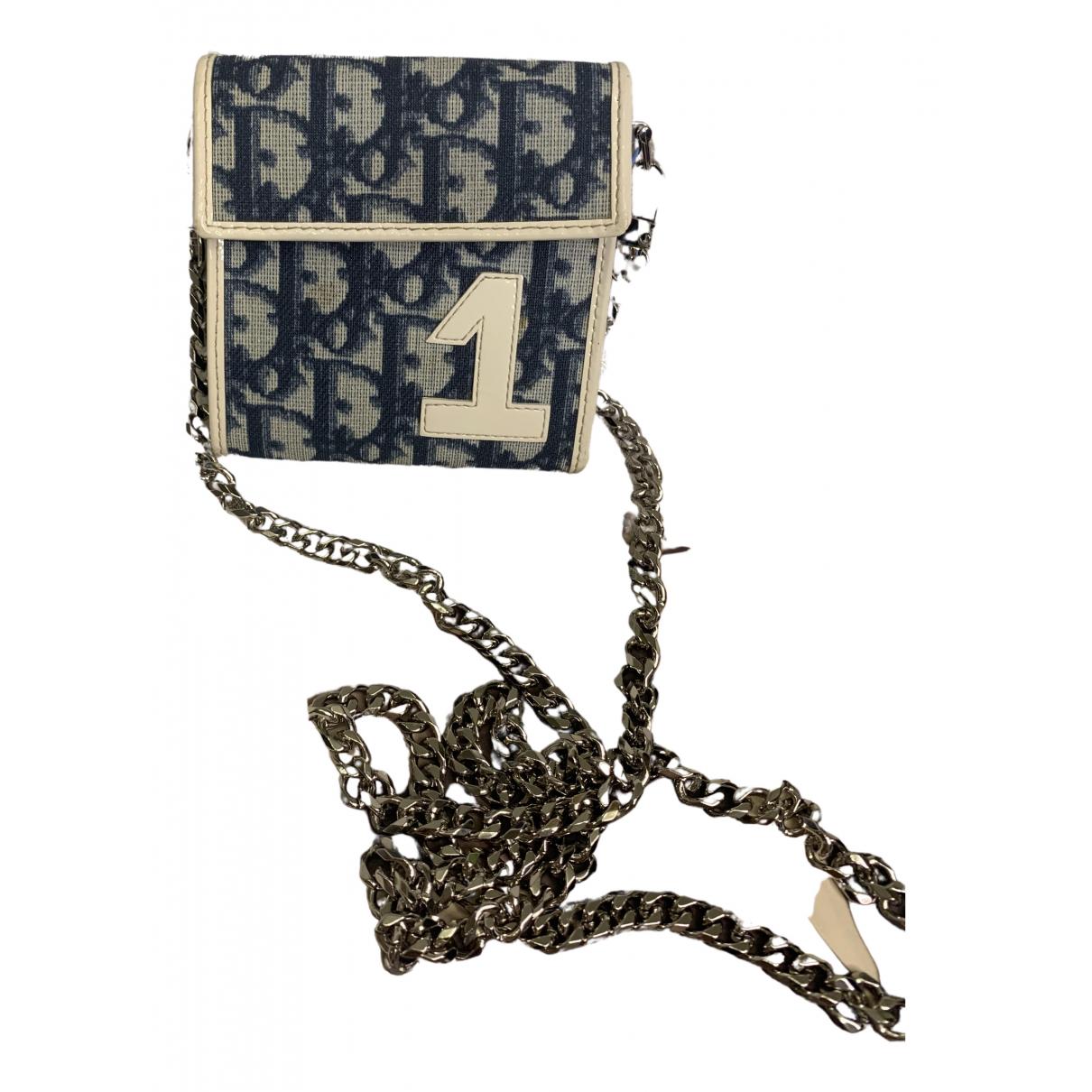 Dior Saddle Portemonnaie in  Marine Leinen