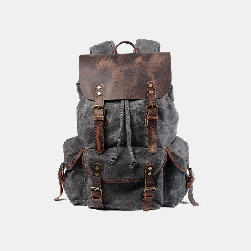 Men Oil Wax Waterproof Wear-resistant Outdoor Travel Backpack