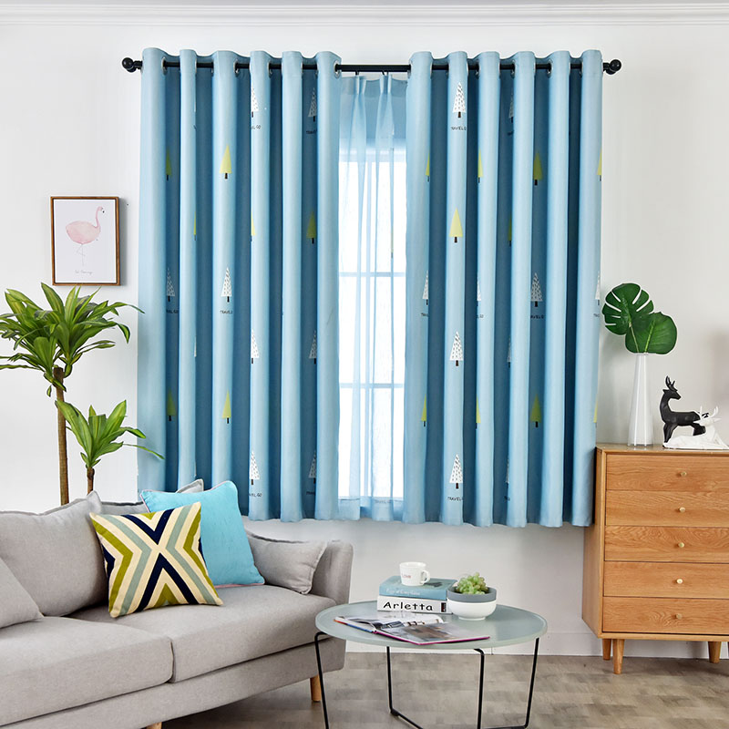 Modern Style Blue Beautiful Cloth and Voile Sewing Together 2 Panels Blackout Curtains