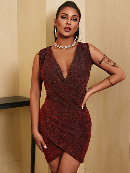 YOINS Sexy Glitter Crossed Front Design Deep v neck Sleeveless Mini Dress