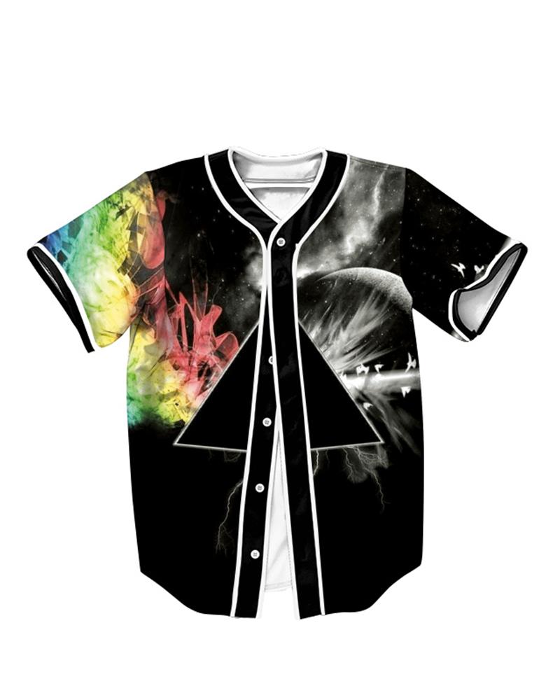 Black Triangle 3D Printed For Man Short Sleeve Shirt