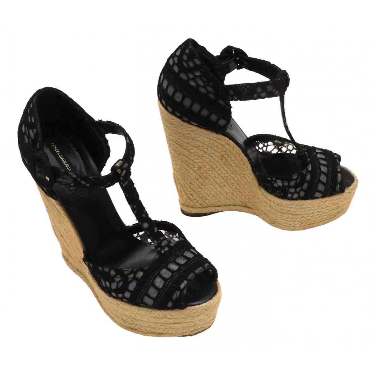 Dolce & Gabbana \N Black Cloth Espadrilles for Women 39 EU