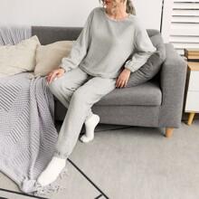 Solid Flannel PJ Set