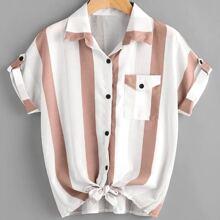 Plus Striped Pocket Front Blouse