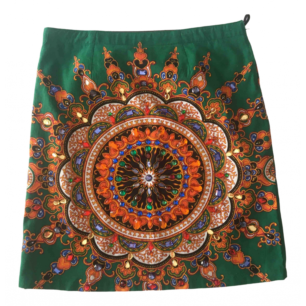 Non Signé / Unsigned Hippie Chic Green Cotton skirt for Women 42 IT