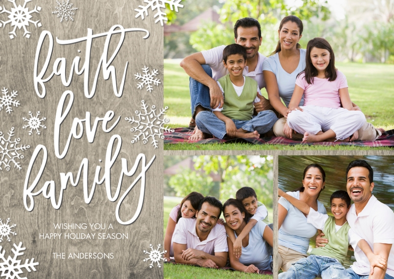Christmas Photo Cards Flat Glossy Photo Paper Cards with Envelopes, 5x7, Card & Stationery -Christmas Faith Love Family by Tumbalina