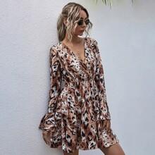 Kleid mit Batik und Grafik Muster
