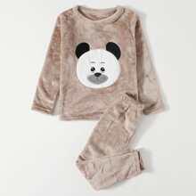 Toddler Boys Bear Graphic Teddy Pajama Set