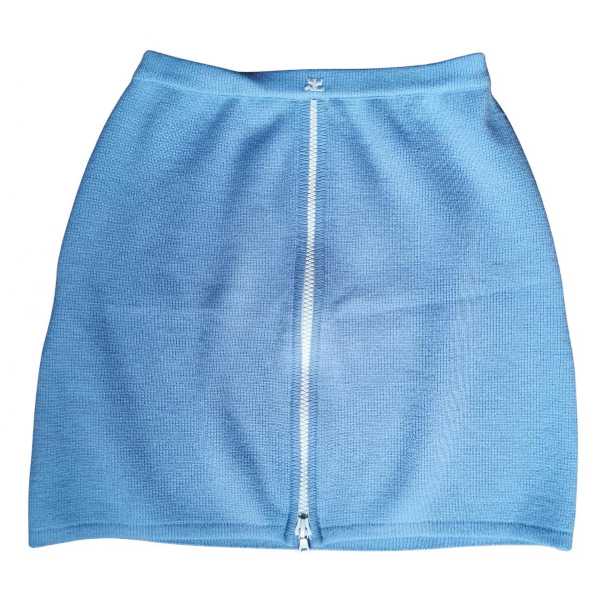 Courreges - Jupe   pour femme en laine - bleu