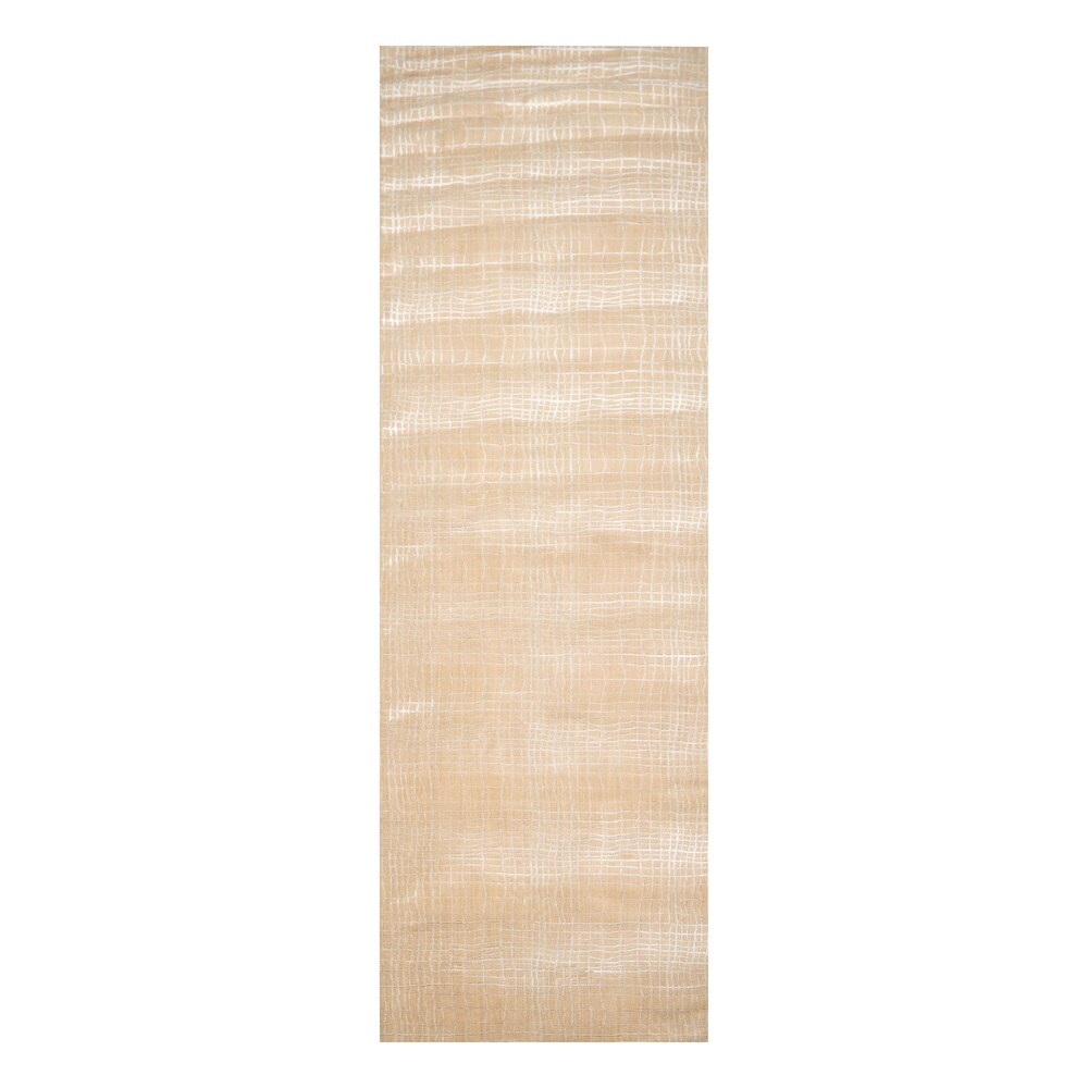 Runner  Wool and Bamboo Nourison Modern & Contemporary Oriental Area Rug Tan, Beige Color - 4'  x 15' (Tan/Beige - 4' x 15')