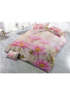 Pink Daisy Wear-resistant Breathable High Quality 60s Cotton 4-Piece 3D Bedding Sets