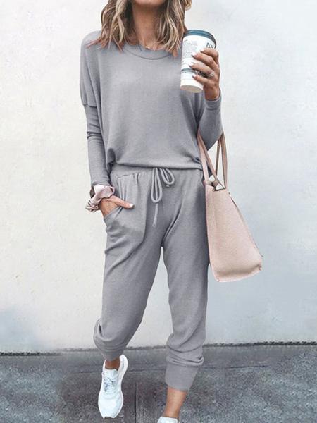 Milanoo Women\'s Loungewear 2-Piece Solid Color Long Sleeve Jewel Neck Cotton Fibers Indoor