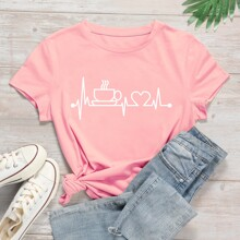 Heart And Graphic Print Tee