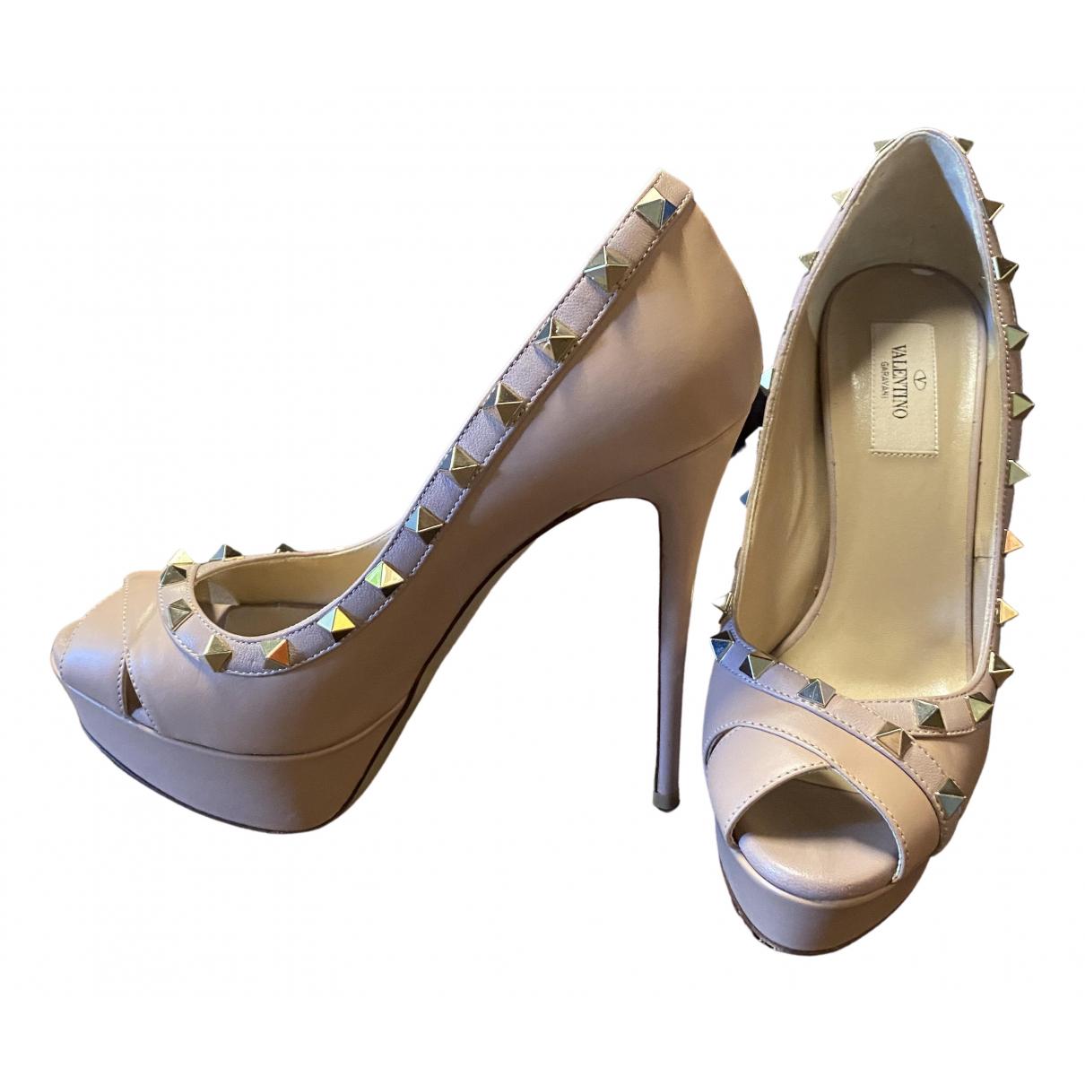 Valentino Garavani Rockstud Beige Leather Heels for Women 38.5 EU