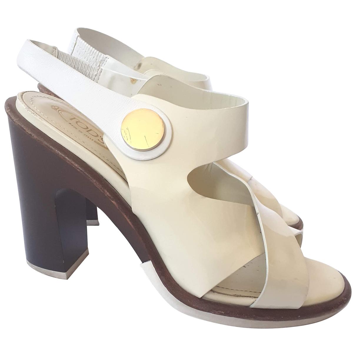 Tods - Sandales   pour femme en cuir verni - ecru