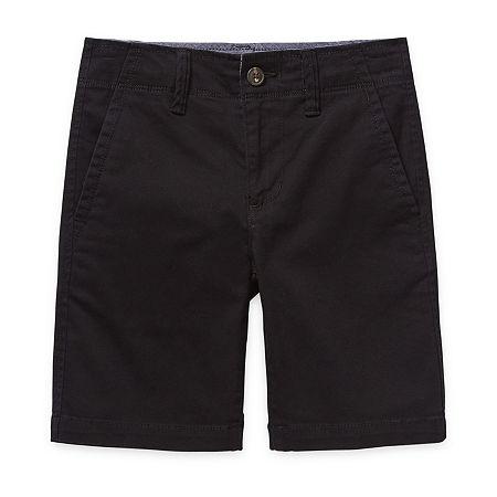 Arizona Little & Big Boys Stretch Adjustable Waist Chino Short, 16 Husky , Black