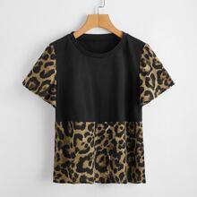 Contrast Leopard Print Tee