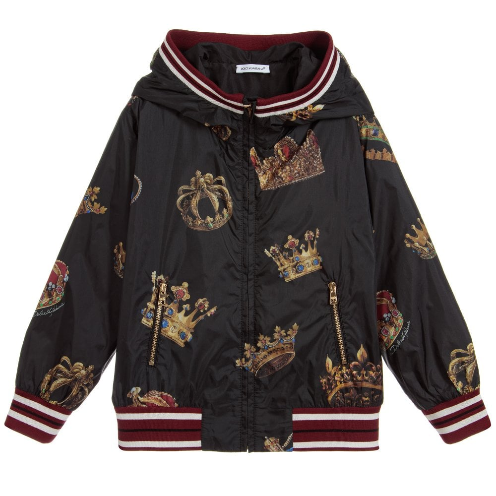 """Dolce & Gabbana Kids """"All Over Crown"""" Jacket Colour: BLACK, Size: 12 YEARS"""