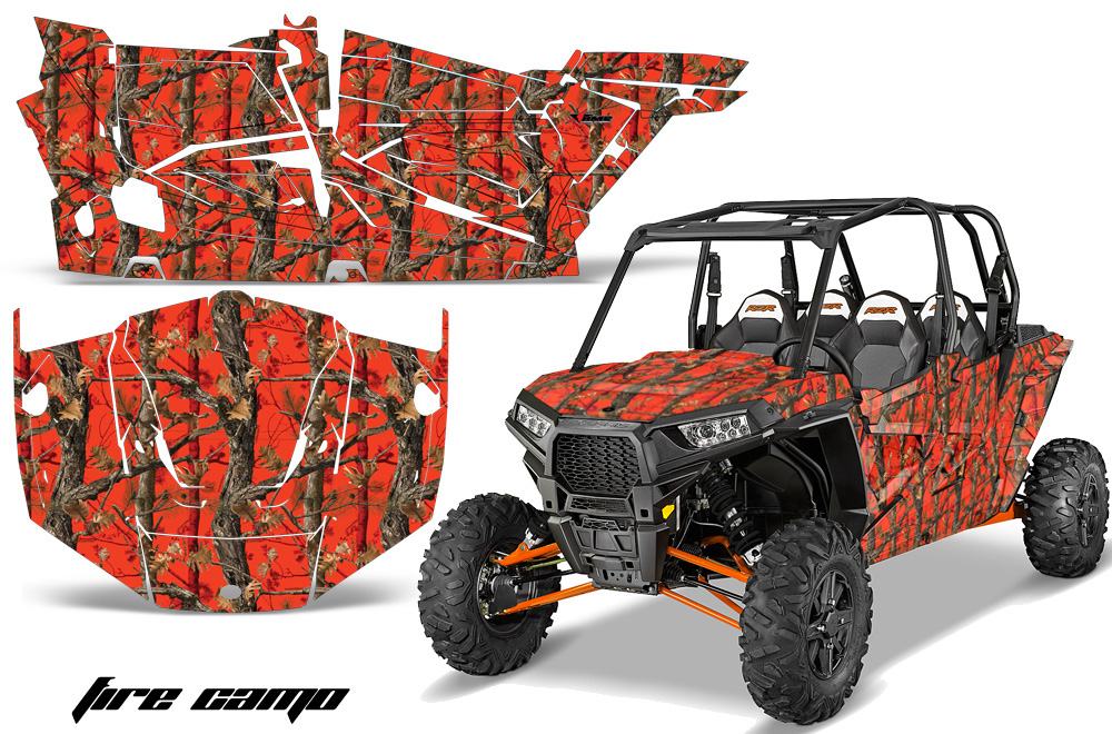 AMR Racing Full Custom UTV Graphics Decal Kit Wrap Fire Camo Polaris RZR XP4 1000 13-18