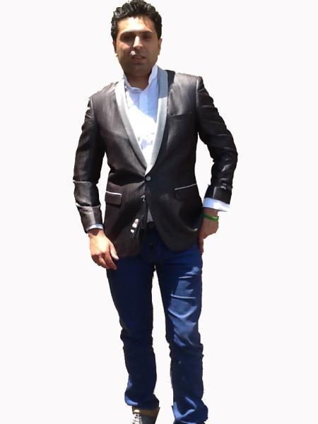 1Button Mens Sport Coat/Dinner Jacket Blazer Shawl Collar Tuxedo Black