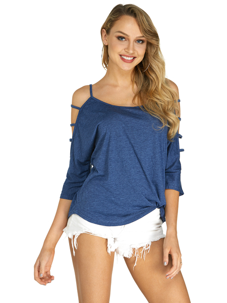 Yoins Blue Cold Shoulder 3/4 Length Sleeve T-shirt with Strappy Detail