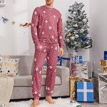Top mit Schneeflocken Muster & Hose Schlafanzug Set