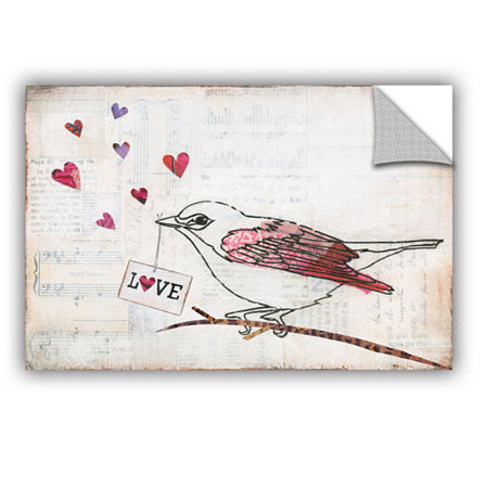 Brushstone Love Birds II Love Removable Wall Decal, One Size , Gray