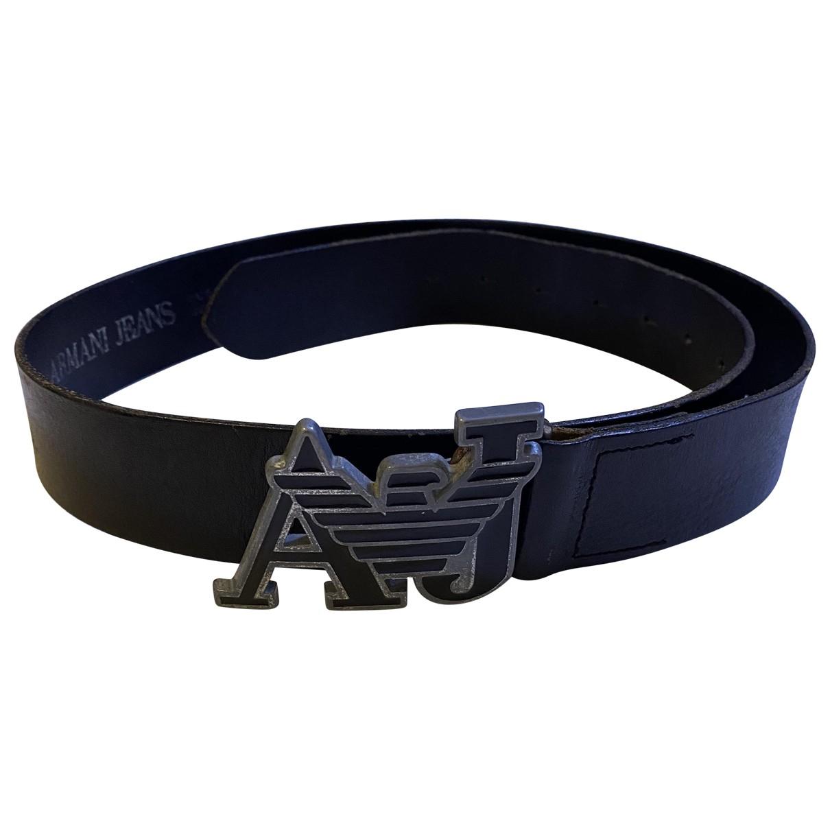 Armani Jeans N Black Leather belt for Men 95 cm