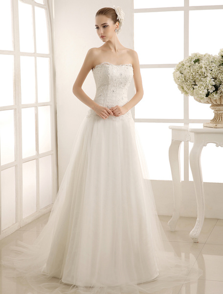 Milanoo Beaded Strapless Wedding Gown With Court Train