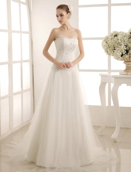 Milanoo Vestido de novia marfil con escote palabra de honor y cuentas de cola larga