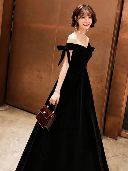 Milanoo Prom Dresses Long Velvet Off Shoulder Bows Black Floor Length Formal Gowns