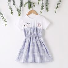 Maedchen A Linie Kleid mit Karo Muster und Buchstaben Grafik