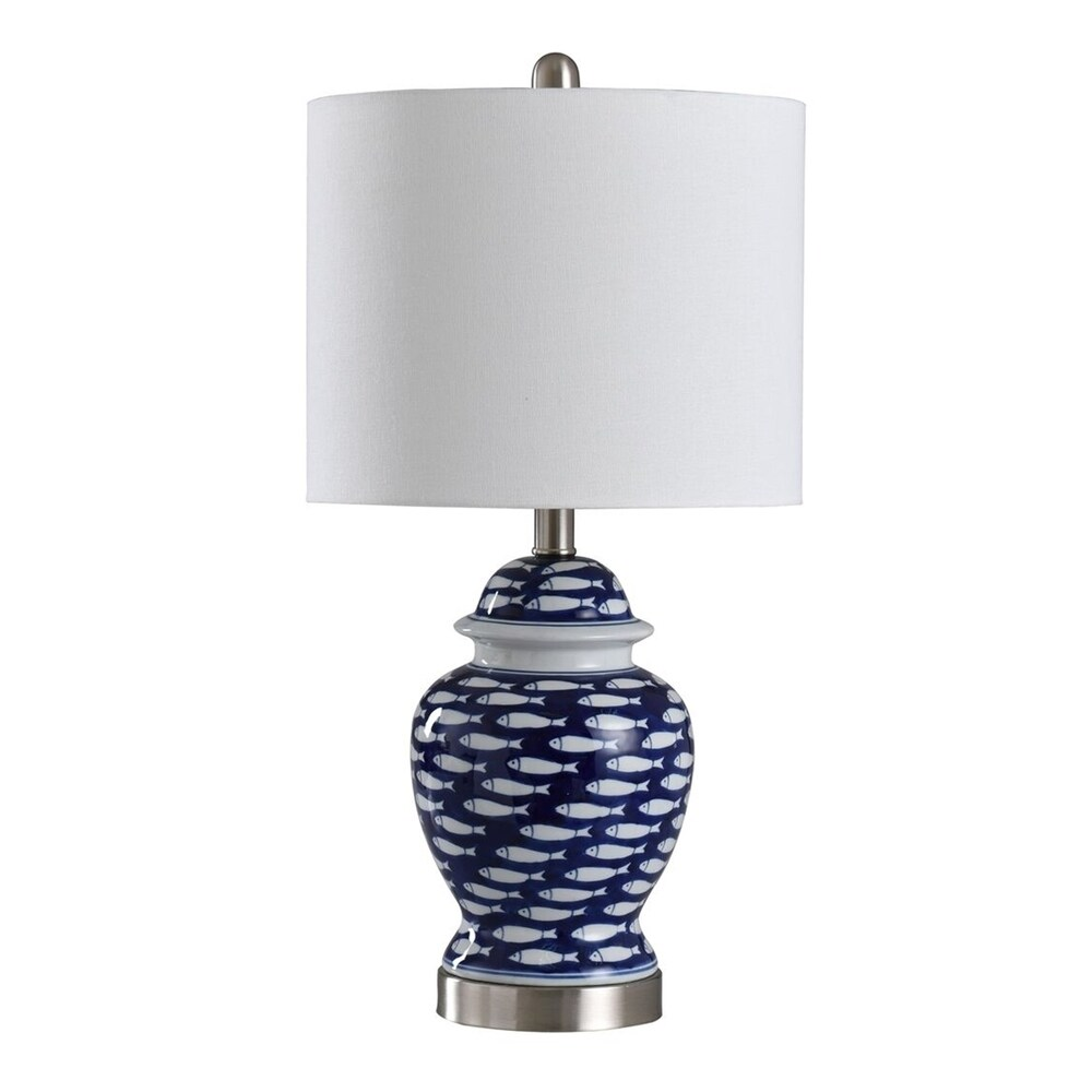 StyleCraft School of Fish Curved Blue And White Table Lamp - White Shade (Blue And White)