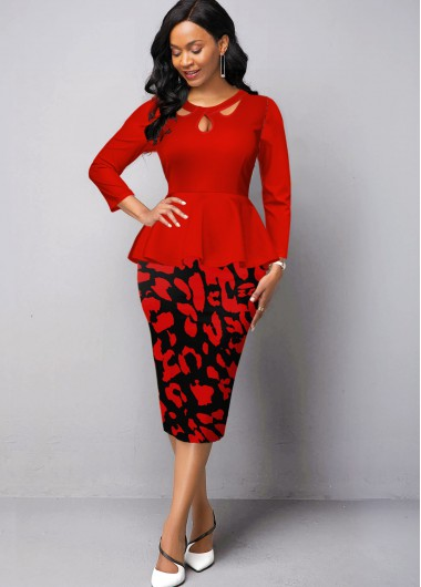 Christmas Rosewe Holiday Dress Keyhole Neckline Leopard Print Peplum Waist Dress - S