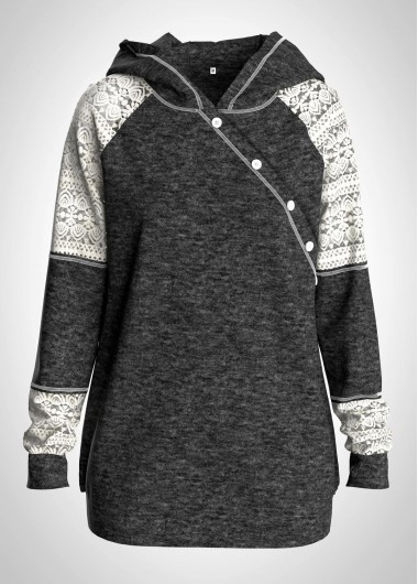 Button Detail Long Sleeve Lace Panel Hoodie - XL