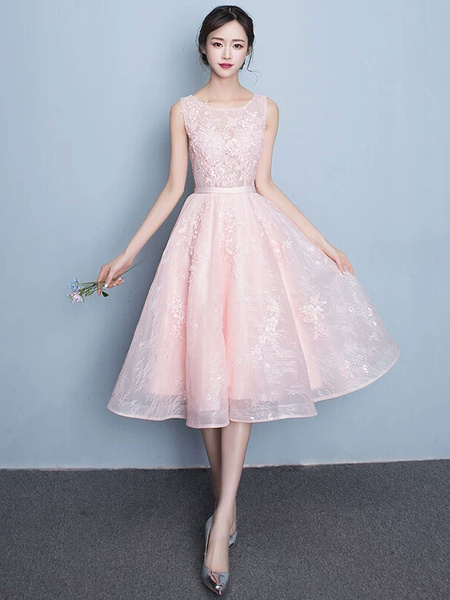 Milanoo Lace Prom Dress A Line Tea Length Cocktail Dress Soft Pink Jewel Sleeveless Homecoming Dress With Sash