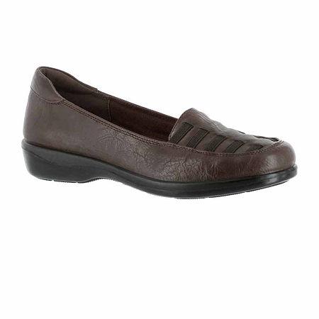 Easy Street Womens Genesis Slip-On Shoe, 9 Wide, Brown